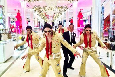 """Albert Guerzon and other dancers in """"Honeymoon in Vegas"""" at the Macy's Thanksgiving Day Parade"""