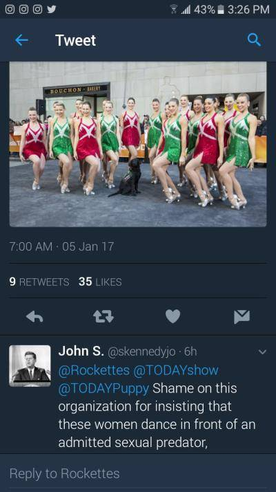 screenshot of a tweet about the Rockettes performing at Trump's inauguration