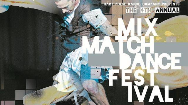 Poster of the 4th Annaual Mix Match Dance Festival featuring a male dancer in thebackground.