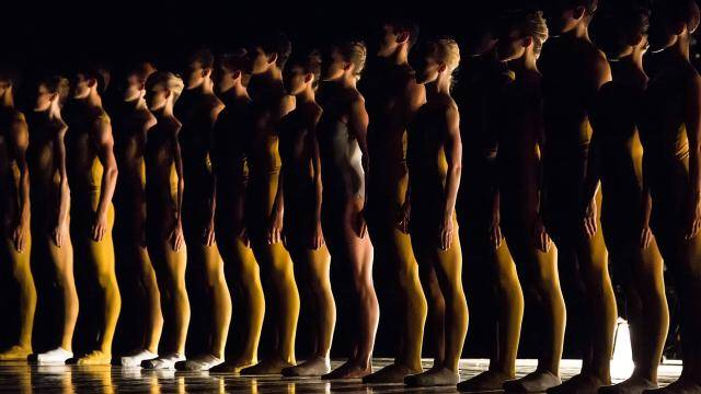 """Silhouette of a line up of dancers wearing yellow unitards, in William Forsythe's """"Artifact Suite"""","""