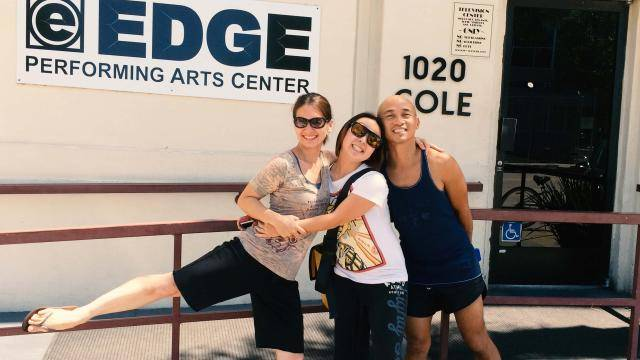 dance students in front of the EDGE Performing Arts Center
