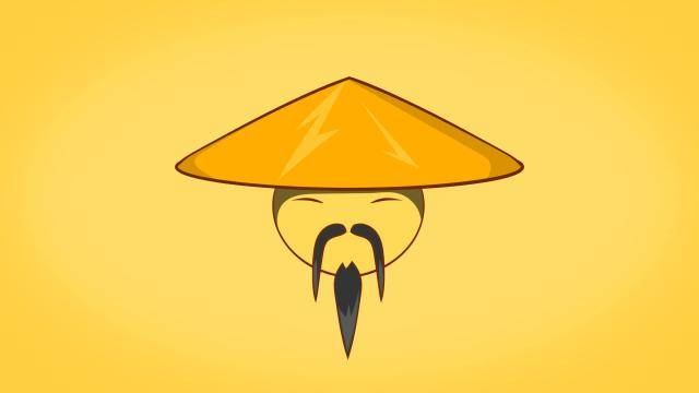 Illustration of an asian face on a yellow background