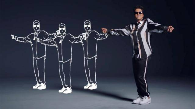 Brunon Mars in a black and white large stripe shirt, standing legs together, arms out to the side, and 3 illustrations of him in the same pose to his left.