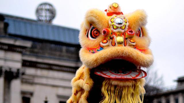 Head of a Chinese Lion puppet.