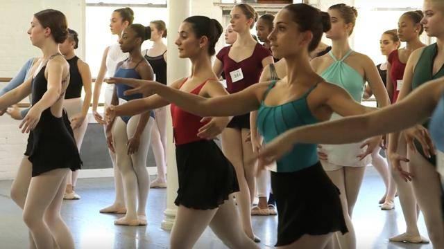 A group of dancers auditioning for Joffrey Elite.