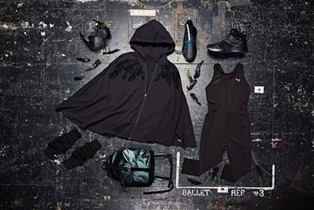 """Overview of Puma's new collection """"Swan Pack"""" gear spread on the floor."""