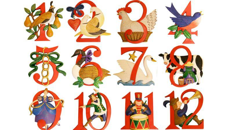 Thanksgiving-themed decorations intertwined in written numbers 1 to 12.