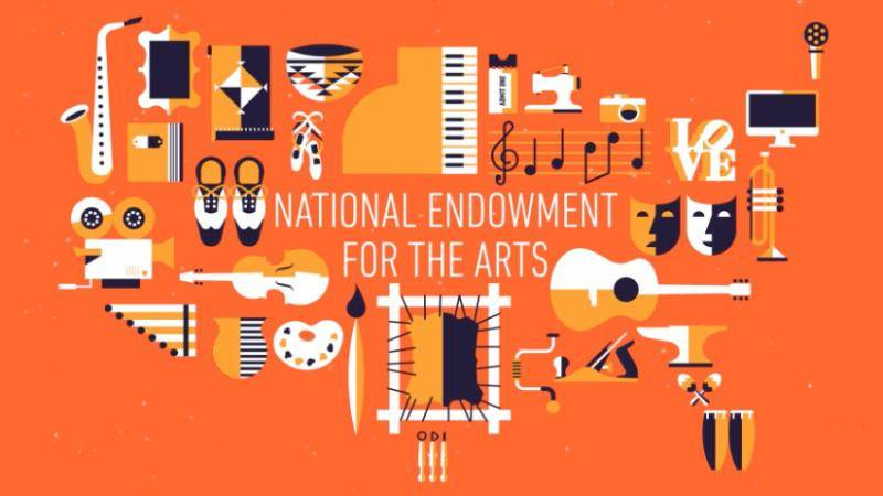 National Enowment for the Arts on an orange background with illustrations of arts elements, such as musical instruments, theatre masks, and dance shoes.